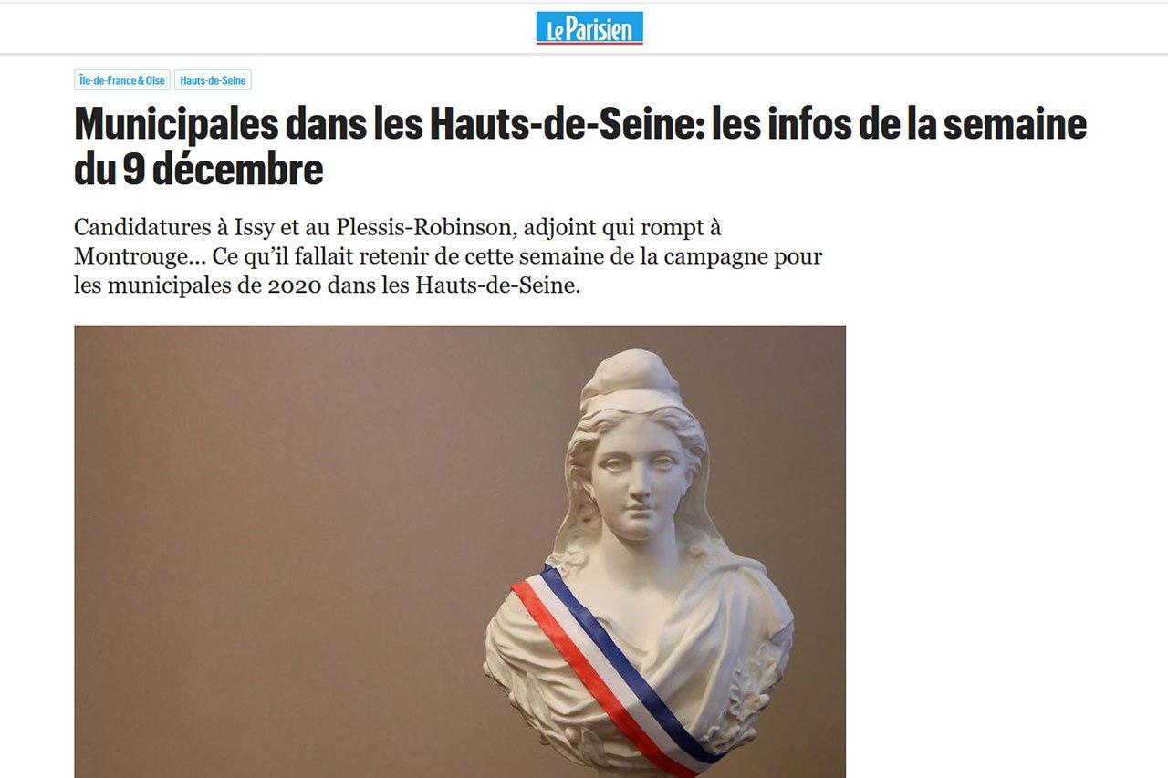 article le parisien édition du 14 décembre sur Christelle Carcone, candidate aux elections municipales 2020 du Plessis-Robinson